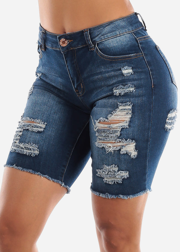 Dark Wash Double Sided Torn Denim Bermuda Shorts