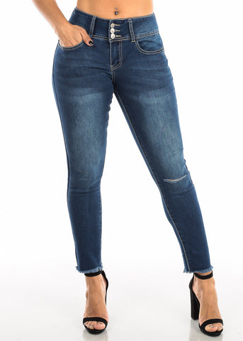 Butt Lifting Dark Wash Skinny Ankle Jeans