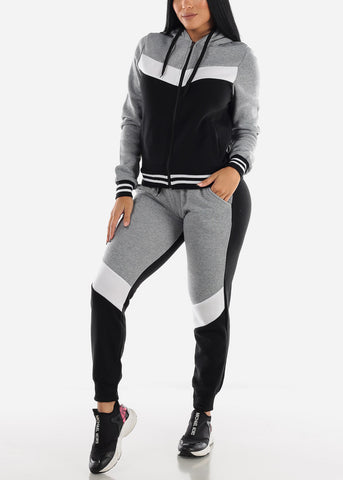 Image of Grey Colorblock Hoodie & Jogger Sweatpants (2 PCE SET)