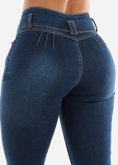 Butt Lifting Medium Blue Jeans