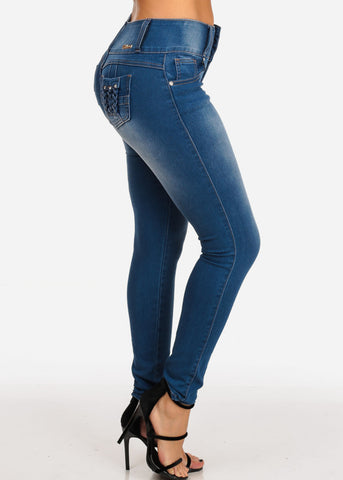 Levanta Cola Mid Rise 3 Button Med Wash Butt Lifting Skinny Jeans With Back Pocket Detail