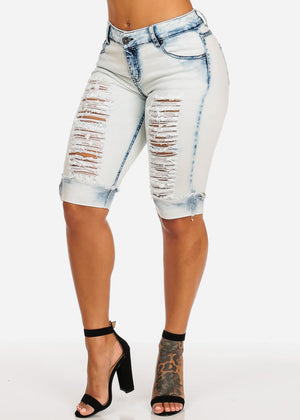 Light Acid Wash Ripped Denim Capris