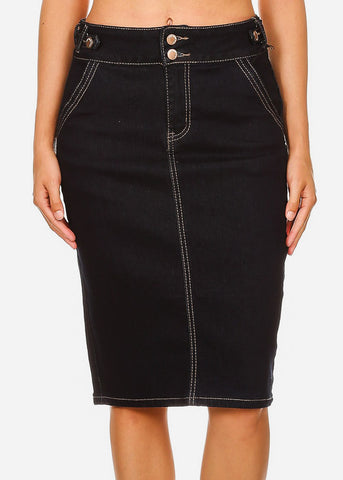 Butt Lifting Dark Wash Denim Midi Skirt