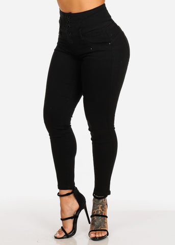 Image of Black High Rise Butt Lifting Lace Up Skinny Jeans