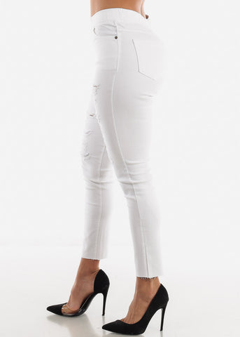Ripped High Waist White Jeans