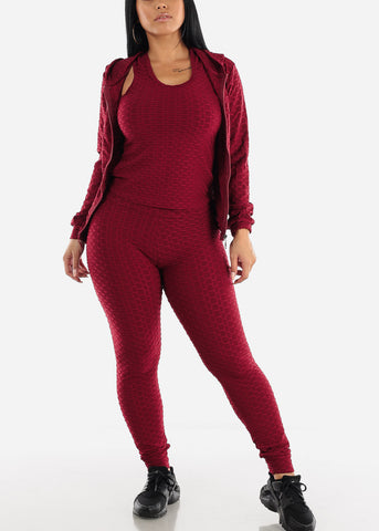 Anti Cellulite Burgundy Top Jacket & Leggings  (3 PCE SET)