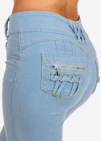 Image of Stylish Butt Lifting Levanta Cola High Waisted 2 Button Light Wash Skinny Jeans With Back Zipper Design