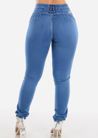 Sexy Butt Lifting Levanta Cola Colombian Design Mid Rise 3 Button Med Wash Skinny Jeans For Women Ladies Junior