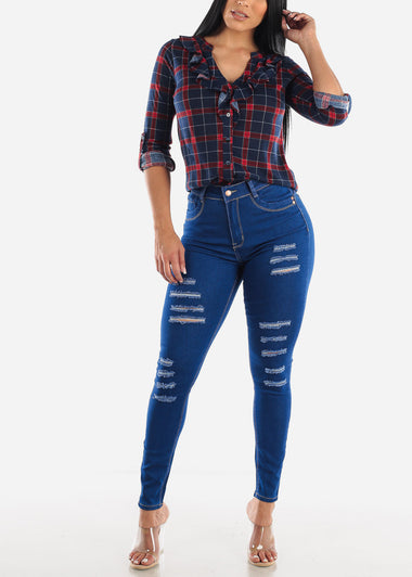 Blue High Rise Ripped Jeans