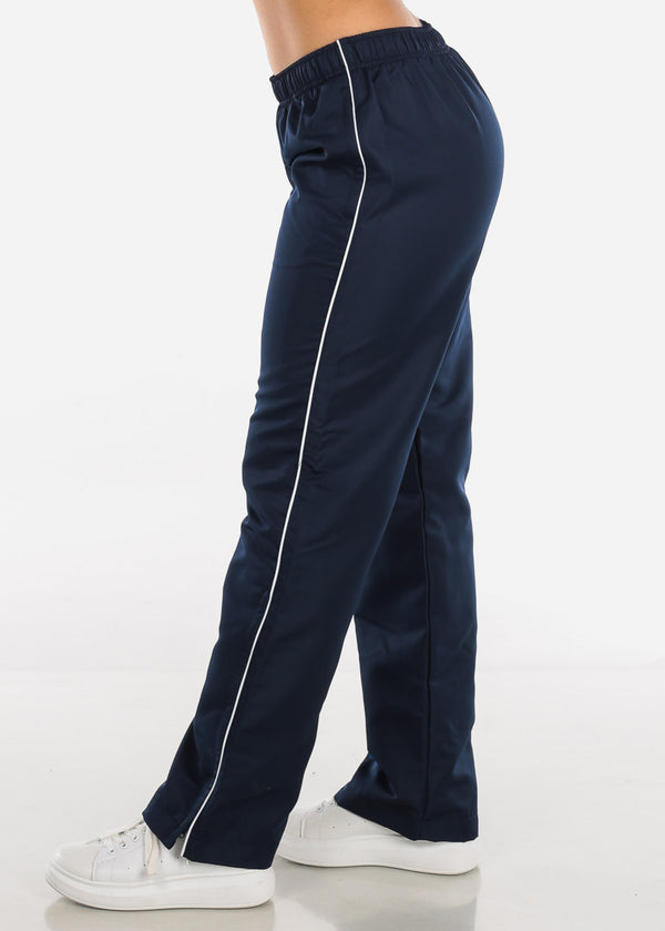 White Stripe Navy Lining Track Pants