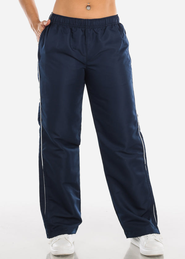 White Stripe Navy Track Pants