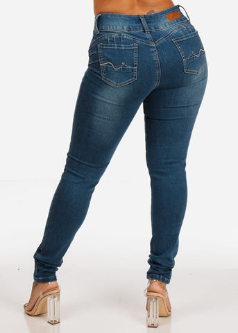 Mid Rise Butt Lifting Med Wash Back Pocket Design 2 Button Skinny Jeans