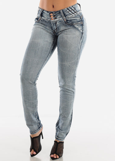Butt Lifting Low Rise Faded Skinny Jeans