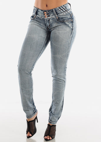 Image of Butt Lifting Low Rise Faded Skinny Jeans