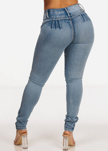 Acid Wash Butt Lifting Skinny Jeans
