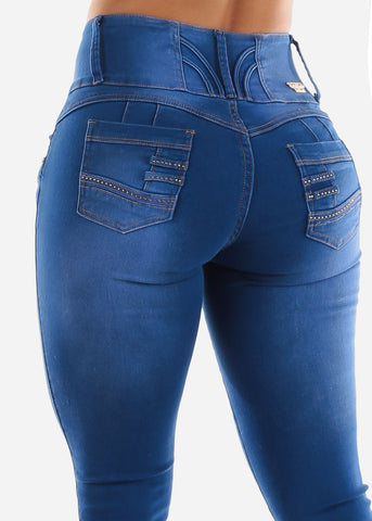 Butt Lift Jeans with Rhinestone Pockets