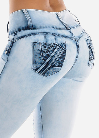 Image of Butt Lifting Light Wash Torn Skinny Jeans