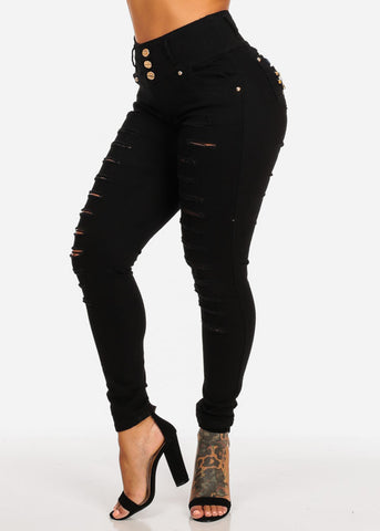 Butt Lifting Mid Rise Distressed Black Jeans