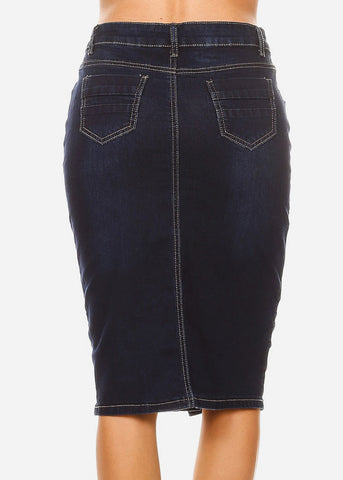 Image of Button Down Dark Wash Denim Pencil Skirt