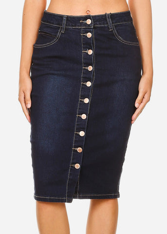 Button Down Dark Wash Denim Pencil Skirt