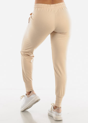 Image of High Rise Beige Joggers