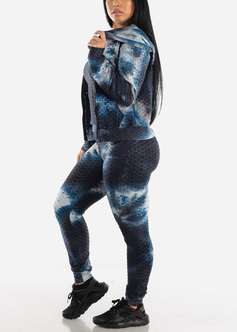 Anti Cellulite Tie Dye Blue Top Jacket & Leggings  (3 PCE SET)