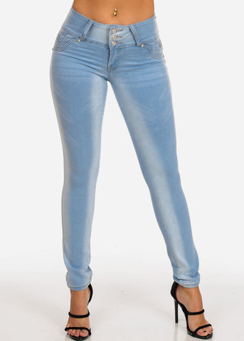 Levanta Cola Butt Lifting Light Wash 3 Button Mid Rise Light Wash Skinny Jeans With Shiny Detail