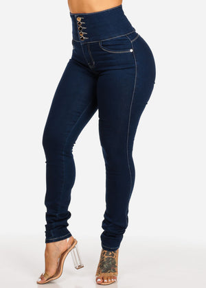Ultra High Waisted Butt Lifting Dark Skinny Jeans