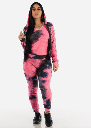 Anti Cellulite Tie Dye Neon Pink Top Jacket & Leggings  (3 PCE SET)