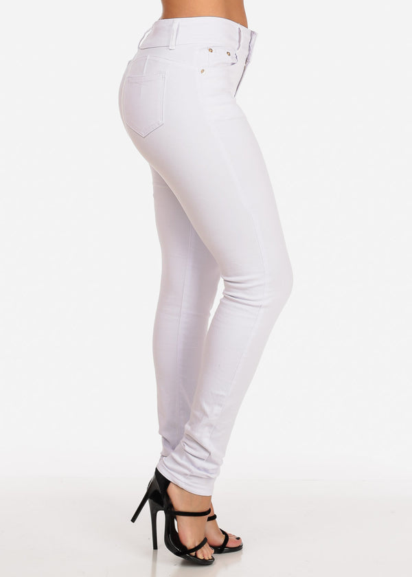 Butt Lifting Mid Rise White Skinny Jeans