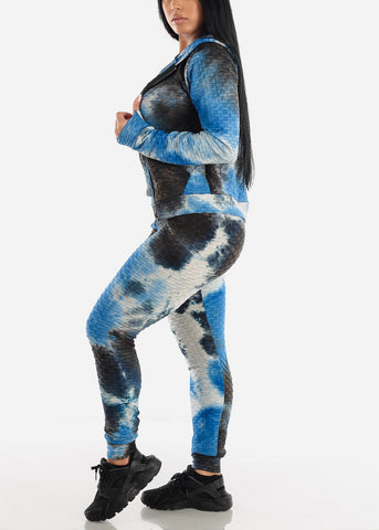 Anti Cellulite Tie Dye Royal Blue Top Jacket & Leggings  (3 PCE SET)