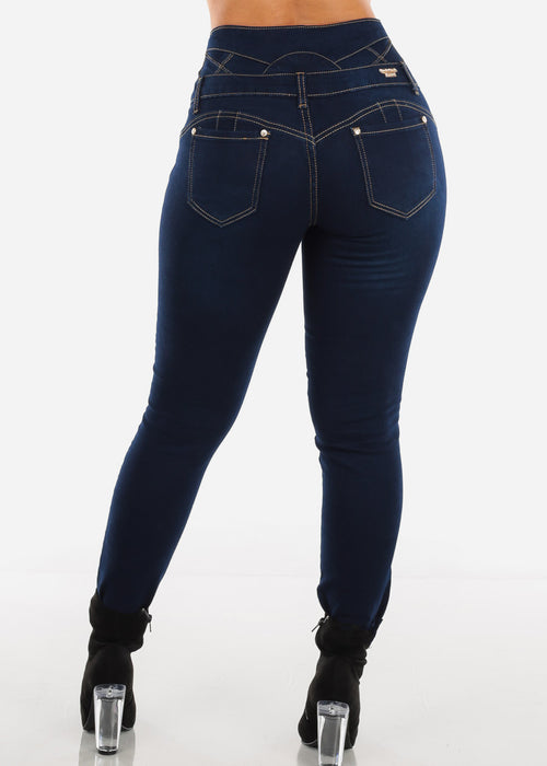 High Rise Butt Lifting Dark Skinny Jeans