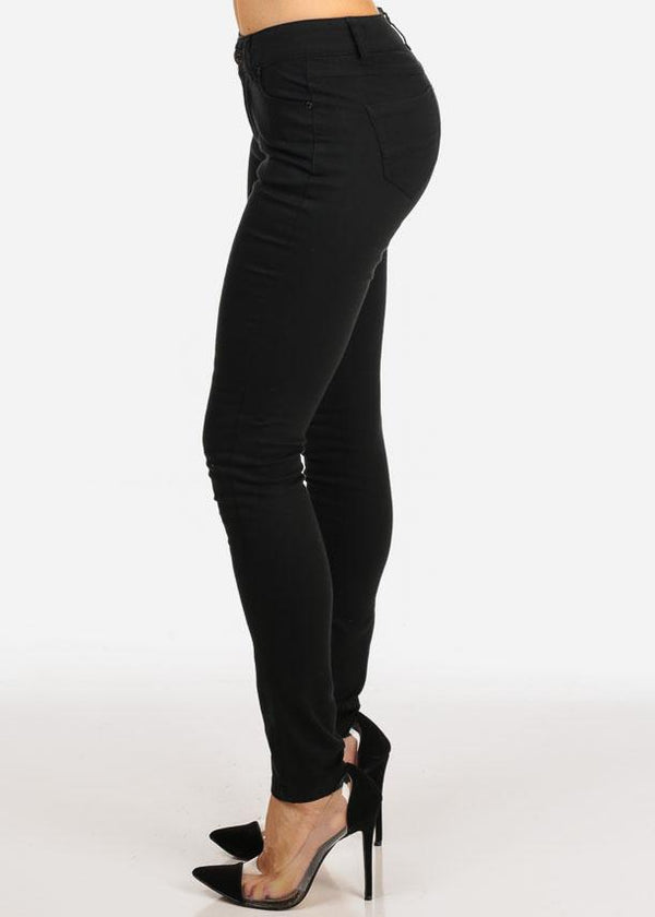 Black Stylish Low Rise 1 Button Skinny Jeans