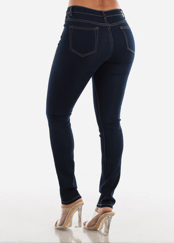 High Rise Dark Blue Skinny Jeans