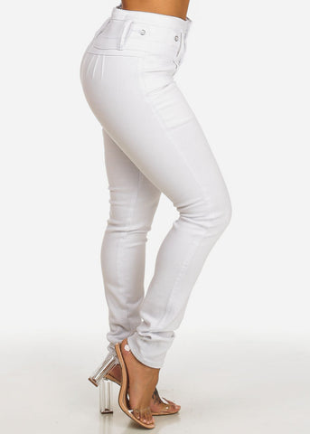 High Waisted Butt Lift White Jeans