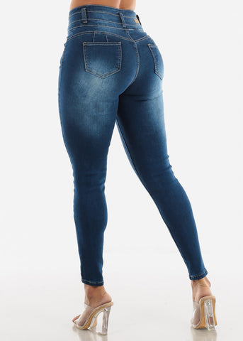 Image of Blue Butt Lifting Torn High Rise Skinny Jeans