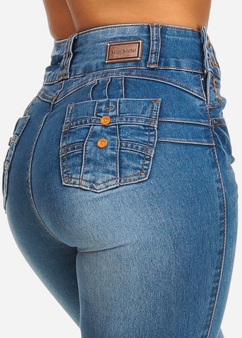 High Waist Med Wash Butt Lifting Jeans