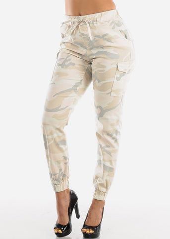 Image of Cream Camouflage Cargo Jogger Pants