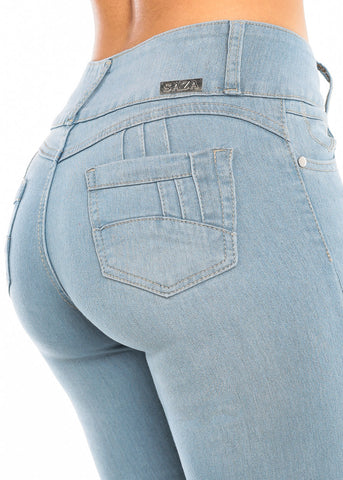 Image of Torn Butt Lifting Light Wash Skinny Jeans