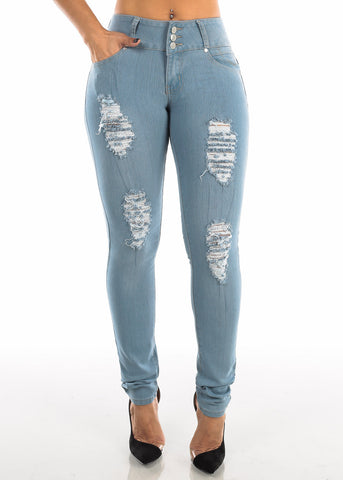 Torn Butt Lifting Light Wash Skinny Jeans