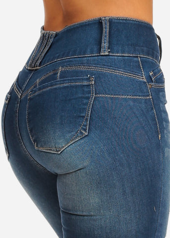 Butt Lifting Mid Rise Distressed Med Skinny Jeans