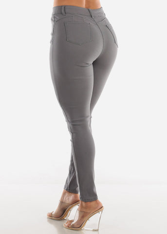 High Rise Butt Lift Grey Pants