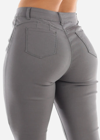 Image of High Rise Butt Lift Grey Pants