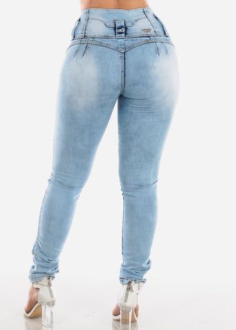 Image of Sexy Butt Lifting Levanta Cola High Waisted 4 Button Light Acid Wash Skinny Jeans