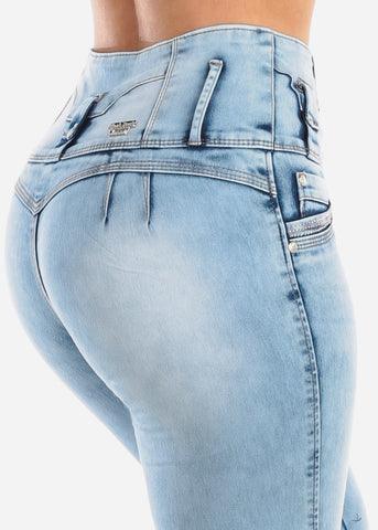 Sexy Butt Lifting Levanta Cola High Waisted 4 Button Light Acid Wash Skinny Jeans