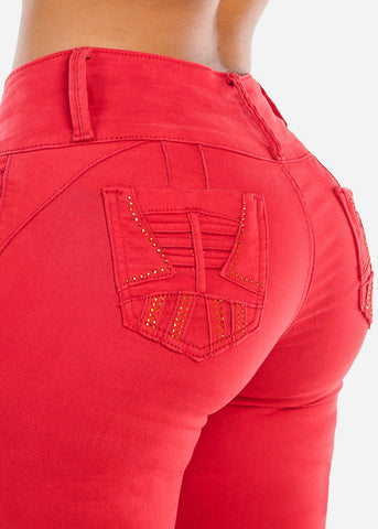 Image of Butt Lifting Red Skinny Jeans