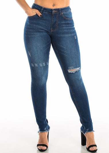 Ripped High Rise Dark Wash Skinny Jeans