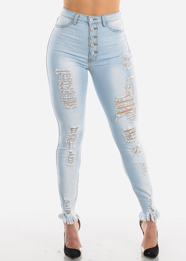 High Rise Torn Light Skinny Jeans