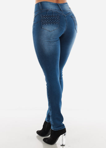 Image of Blue Stone Wash Booty Boost Skinny Jeans