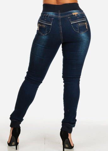 High Rise Levanta Cola Skinny Jeans